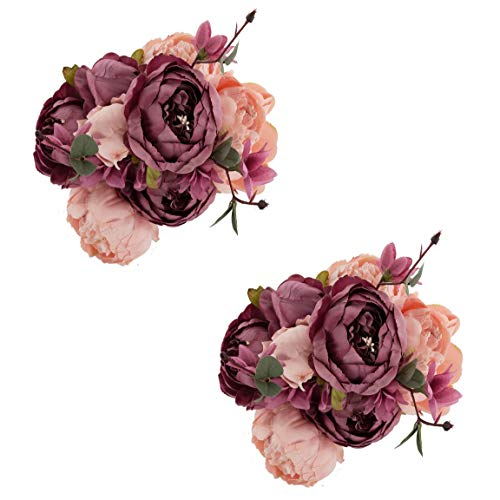 EZFLOWERY 2 Pack Artificial Peony Silk Flowers Arrangement Bouquet for Wedding Centerpiece Room Party Home Decoration, Elegant Vintage, Perfect for Spring, Summer and Occasions (2, Blush)