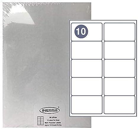 50 Sheets Bianco A4 Fogli Vuoti Etichette Inerra Autoadesivo Vuoto Etichette 4 Al A4 Foglio Adesivi Indirizzo
