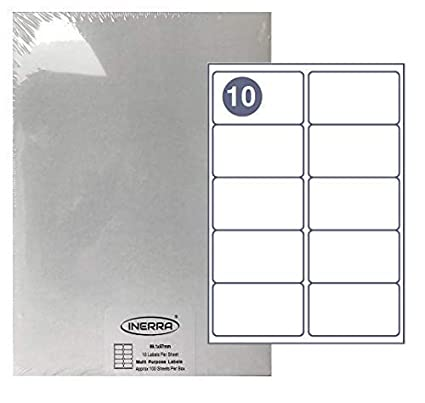 Inerra Etiquetas Blanco - 10 por A4 Folio - Correo Impresora ...