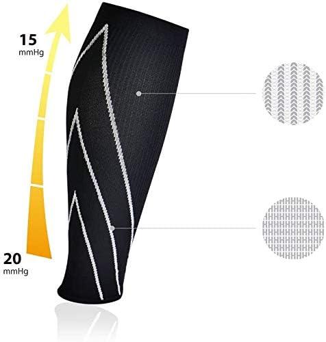 Bracoo LE70 I 1Par de Calentadores de Compresi/ón Graduada Hombre y Mujer Pantorrilleras para Mejorar el Rendimiento Deportivo Tejido Amortiguador contra Vibraciones en Superficies Duras 15-20mmHg