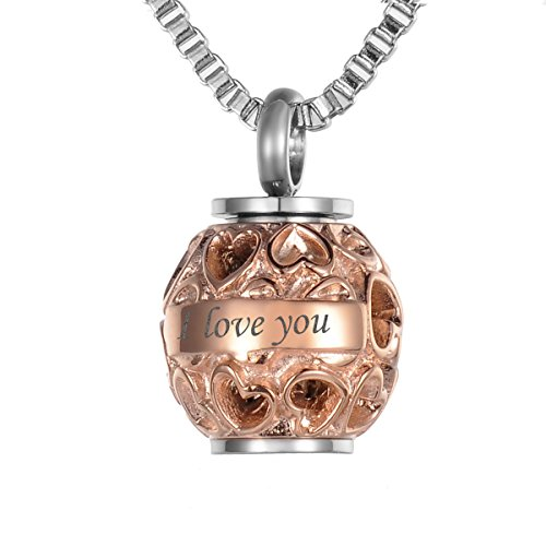 Valyria Memorial Hollow Diamond Beads 'Always in my heart' Urn Pendant with Personalized Engraving,Rose Gold Plated (Heart Pattern Heart Personalized)