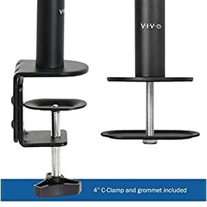 "VIVO Dual Monitor Stand Up Desk Mount Extra Tall 39"" Pole / Fully Adjustable Stand for up to 27"" Screens (STAND-V012)"