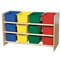 """Wood Designs WD13803 Almacenamiento para todo público con (12) Bandejas de colores surtidos, 21 x 33 x 14 """"(An x An x P)"""