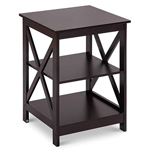 - Giantex Nightstand W/ 2 Drawers and 3-Tier X-Design Storage Organizer Display for Living Room Bedroom HomeFurniture End Table (1, Coffee)