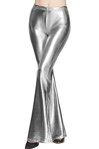 Bell Silver Glitter - Hoohu Women's Hot Sexy Shiny Slim Fit High Waist Bell Bottom Flare Pants for Casual Club Party Dance Performance