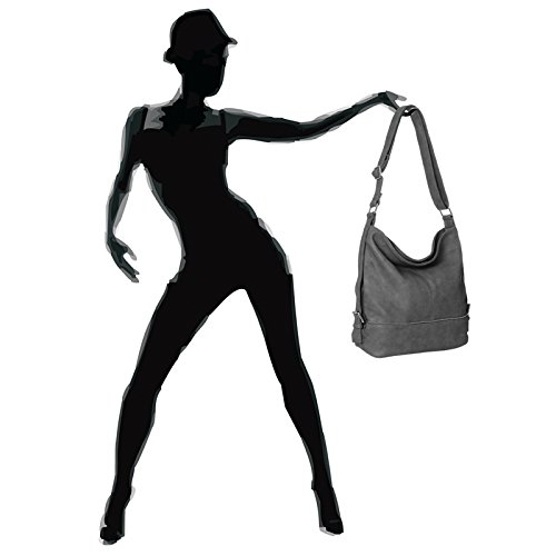 de CASPAR Gris Hombro Bolso TS732 Bandolera Bolso de Mujer Grande Oscuro para xnxwU