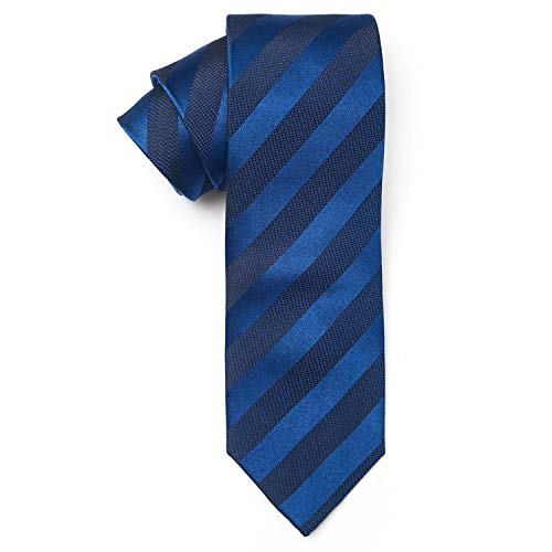 Teliz Solid Color Ties for Men 100% Silk Necktie + Gift Box (Blue ()