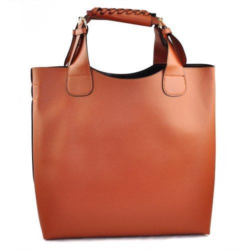 Señoras piel sintética Hobo bolso de hombro bolso de la compra bolso de mano, color marrón