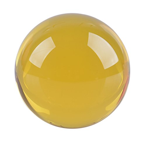 LONGWIN 50mm(2 inch) K9 Crystal Ball with Free Stand Suncatcher (Yellow) (Glass Balls Decorative Solid)