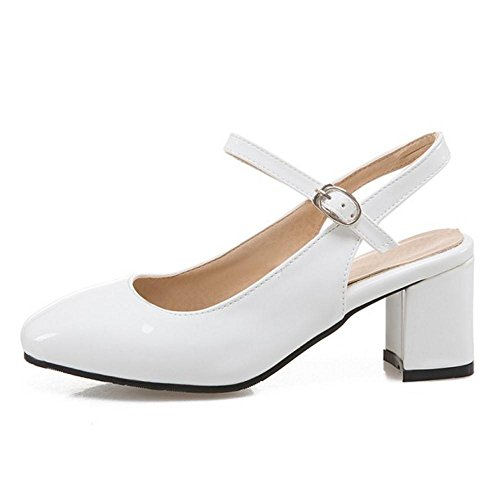 Shoes Dress Party TAOFFEN Ankle Heel Sandals Women Fashion Buckle White Mid Block Strap RRqp6P1