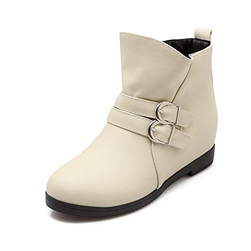 PU Women's On Low Solid Beige Heels Closed Toe Pull Boots WeiPoot Round 6pqCnCw