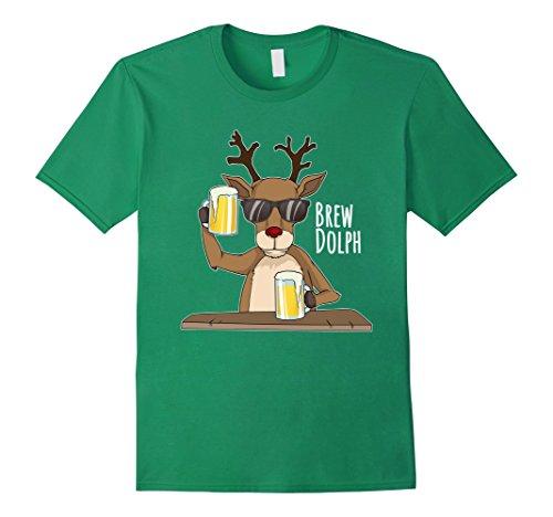 Mens Brew Dolph Shirt, Funny Rudolph Christmas Holiday Tee Shirt XL Kelly Green