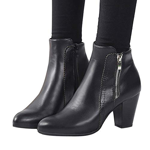 Women High Heels,kaifongfu Vintage Chunky Thick Heel Zipper Short Boot (Black,US:8) from kaifongfu Shoes