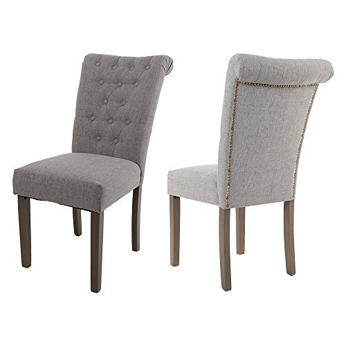 Merax Set of 2 Fabric Dining Chairs with Solid Wood Legs, Gr