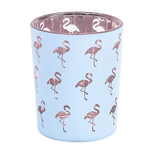 Romantic Pink Flamingo Pattern Tea Light Candle Holder Set of 3 Glass Centerpiece for Dinner Wedding Party Decoration