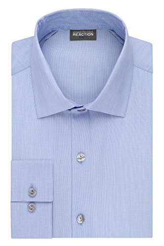(Kenneth Cole Reaction Men's Technicole Slim Fit Stretch Solid Spread Collar Dress Shirt , Blue Jay, 17.5