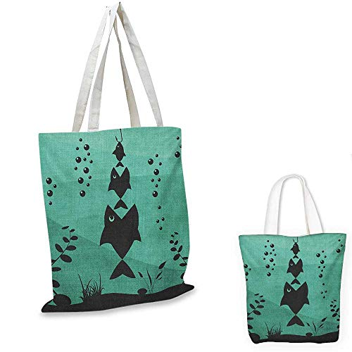 (Fishing shopping tote bag Big Fish Eats Little Small in Bubbles Underwater Ocean Symbolic Icons Food Theme travel shopping bag Teal Grey. 16