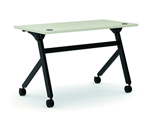 Worksurface Light - HON Assemble Flip Base Multi-Purpose Table, 48-Inch, Light Gray/Black (HBMPT4824P)