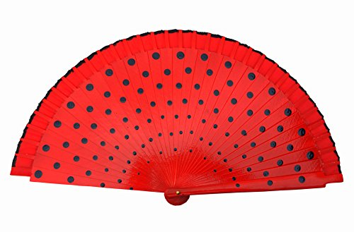 La Señorita Spanish Flamenco Fan wood Hand Fan Dress costume red with black (Spanish Dots)