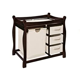 Sleigh Style Baby Changing Table with Laundry Hamper and 3 Storage Baskets-24066-Parent