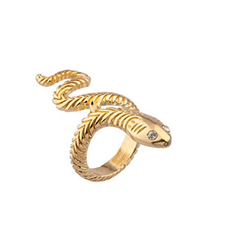 Lux Accessories Wrap Around Serpent Snake Pave Eyes Sized Ring
