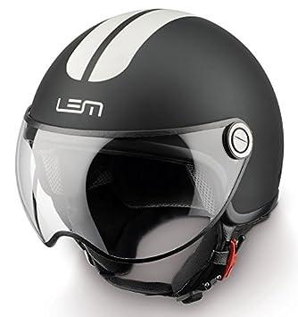 Casco Moto LEM - Roger Go Fast, NEGRO MATE CON RAYAS BLANCAS (L)