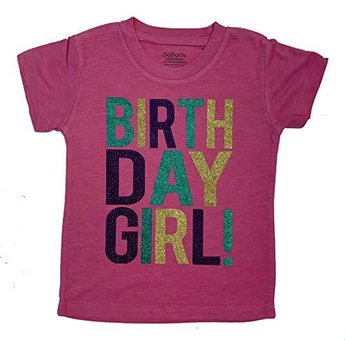 SoRock Birthday Girl Toddler Kids Glitter T-Shirt (Vintage Pink, Youth Medium)