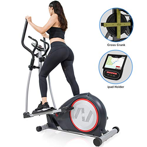 SNODE Magnetic Elliptical Trainer Exercise Machine with Heavy Duty Cross Crank Driven w/Tablet Holder and Pulse Rate Monitoring for Home Fitness Cardio Training Workout