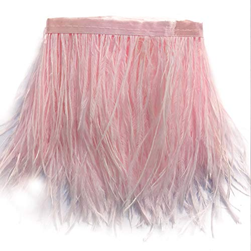 Feather Pink Boa Trim - Sowder Ostrich Feathers Trims Fringe With Satin Ribbon Tape Dress Sewing Crafts Costumes Decoration Pack of 2 yards(light pink)