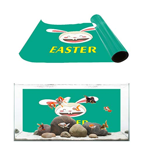 Aquarium Background Laugh Heartily Eater Rabbit Fish Tank Wallpaper Easy to Apply and Remove PVC Sticker Pictures Poster Background Decoration 18.4