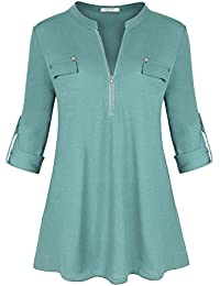 Womens Split V-Neck 3/4 Roll-up Sleeve Zip up Casual Shirt Blouse Top