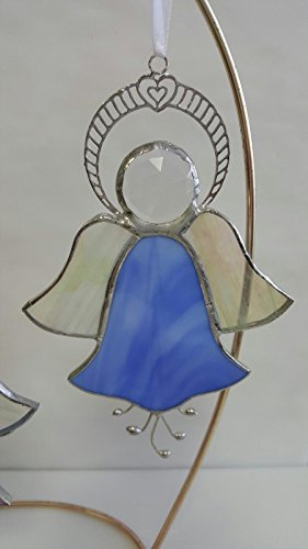 (Stained Glass Angel, Tulip Or Morning Glory, Filigree Halo, Iridized Stained Glass Wings, Faceted Jewel Head, Sweet & Beautiful, Custom Handmade, Choose One or Buy Two, Each 4.5
