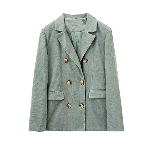Womens Long Sleeve Double Breasted Corduroy Cotton Blazer Jacket Top ()