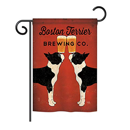 Breeze Decor G160117 Boston Terrier Brewing Nature Pets Impressions Decorative Vertical Garden Flag 13