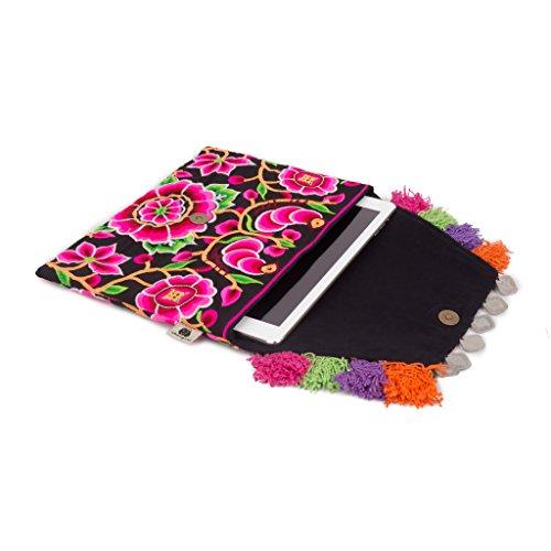 Tassels Worm Embroidery with Clutch Handmade Decorative Silk Boho Flower Changnoi Bag Black 1 nq8vwYn