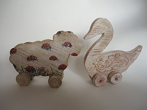 Wooden Toys for Grown Children. Set of Animals Figurines Swan and Sheep. Birthday gift ideas. Collectible toys. The Province style. by VPFinishDesign