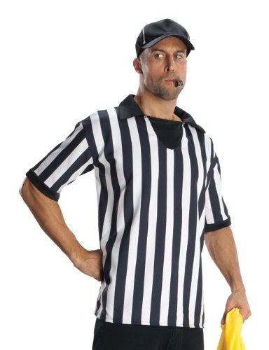 Rubie's Heroes And Hombres Adult Referee Shirt And Hat, White/Black, Standard