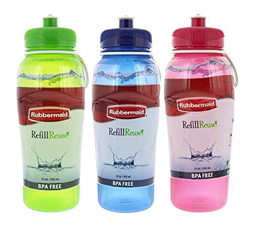 Water Bottle 32 Oz Loop - Rubbermaid Refill Reuse Water Bottles with Squirt-Top Lid, BPA-Free, Finger Loop for Easy Carrying, 32oz, Green, Blue, Pink - 3 Pack