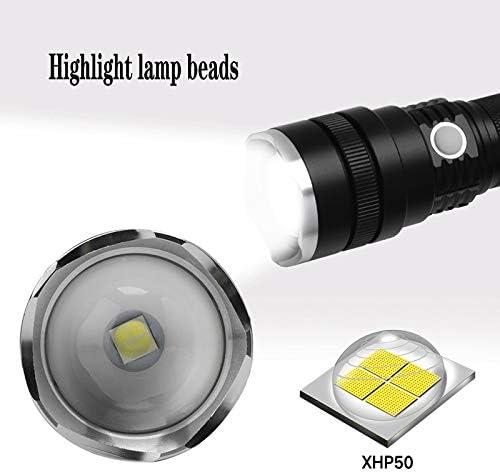 NIHE Zoom 1800 lumens glare flashlight, USB/rechargeable/outdoor/daily life/lighting flashlight, telescopic focusing flashlight