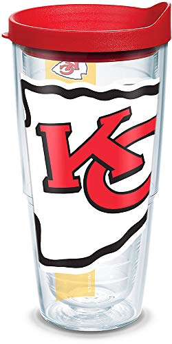 Tervis 1100088 NFL Kansas City Chiefs Colossal Tumbler with Wrap and Red Lid 24oz, Clear