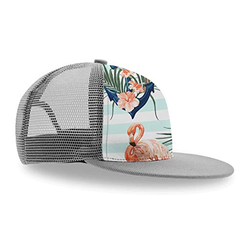 Stylish Trucker Hat, Anchor Palm Tree Flamingo-2 Unisex Adjustable Baseball Cap Snapback Hats Kids Sun Hat Summer Cap-1 Pack