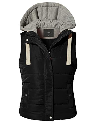 LE3NO Womens Casual Lightweight Quilted Zip Up Puffer Vest with Pockets