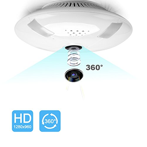 Wireless Security Hidden Fisheye Camera,960P HD WiFi IP Indoor Dome With 360 Degree Wide Angle,IR Night Vision,Motion Detection for Android IOS APP (White)