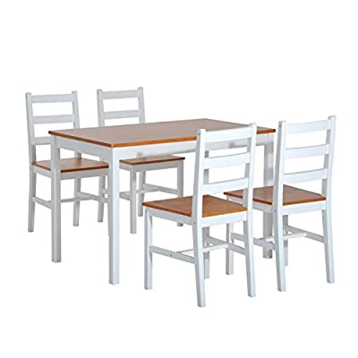 HomCom 5 Piece Solid Pine Wood Table and Chairs Dining Set