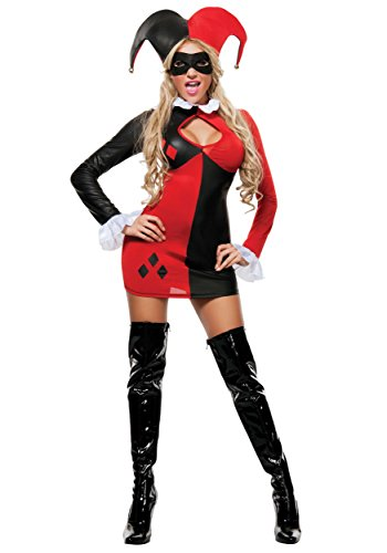 Sexy Harley Quinn Halloween Costumes (Starline Women's Harley-Quinn Sexy 3 Piece Cosplay Costume Dress Set, Red/Black, Small)