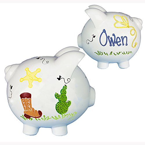 Boy's Western Cowboy Piggy Bank - Hand Painted Personalized Large (Keepsake Dollar Bill)