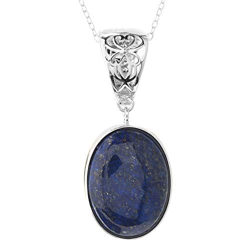 - Pinctore Sterling Silver 20 x 15mm Oval Lapis Enhancer Pendant w/ 18