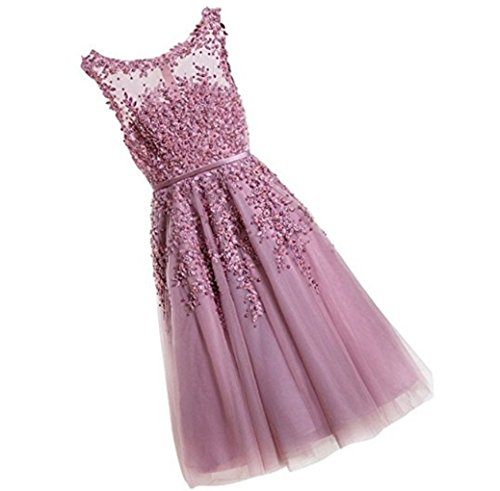 Bridesmaid Dress Scoop A Tulle Sleeveless Appliques Pink line Gowns Party Length Cocktail Neckline Rose Beaded Knee xqATwaBYA