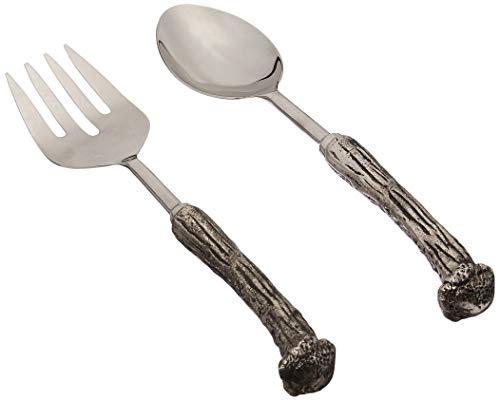 Mud Pie 4634006 Metal Horn Shape Salad Servers, Silver