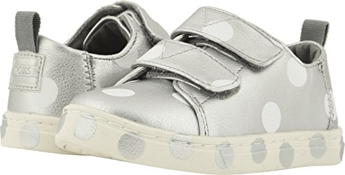 TOMS Kids Baby Girl's Lenny (Infant/Toddler/Little Kid) Silver Pearlized Synthetic Leather Dots 4 M US Toddler